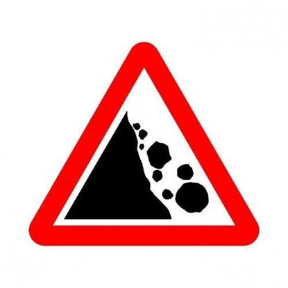 Falling Rocks Left Road Sign