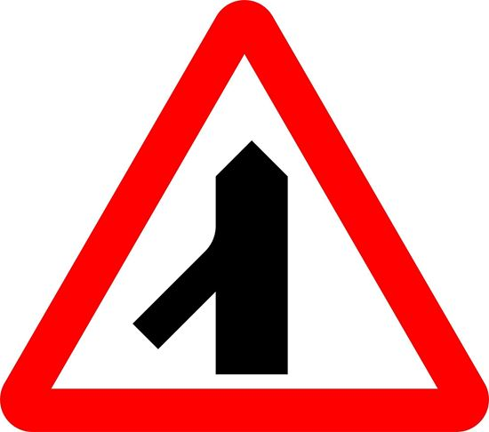 Traffic merges ahead from left road sign