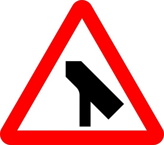 Traffic merges ahead onto main carriageway road sign