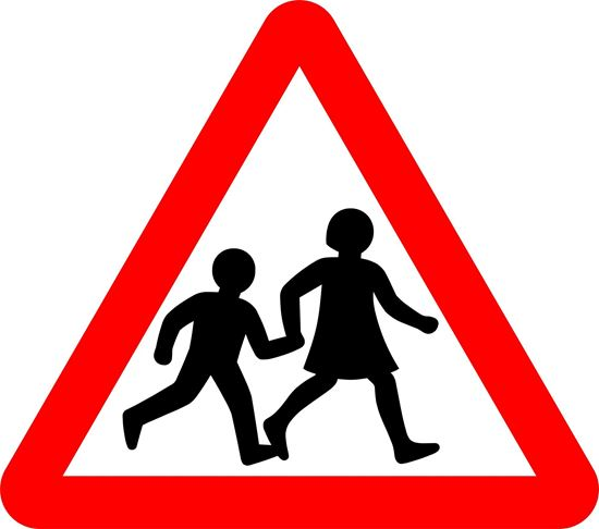 Children going to or from school or playground ahead road sign