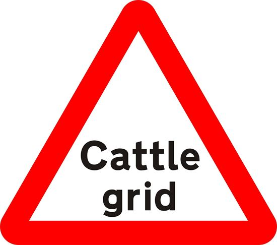 Cattle grid ahead road sign