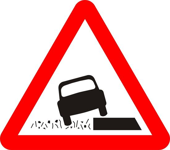 Soft verges ahead road sign