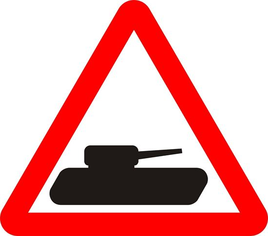 Slow moving military vehicles road sign