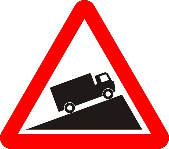 Slow moving vehicles likely on incline ahead road sign