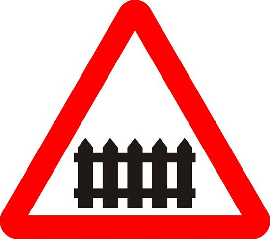 Level crossing with gate or barrier ahead road sign
