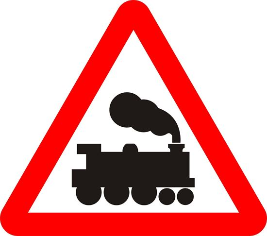 Railway level crossing without gate or barrier ahead road sign