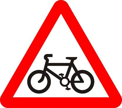 Cycle route ahead road sign