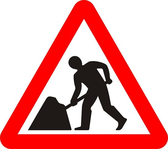 Road works or temp. obstruction of the carriageway ahead road sign