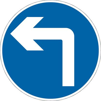 Vehicular traffic must turn ahead in the direction indicated by the arrow road sign