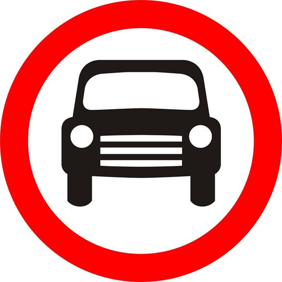 Motor vehicles except solo motor cycles prohibited road sign