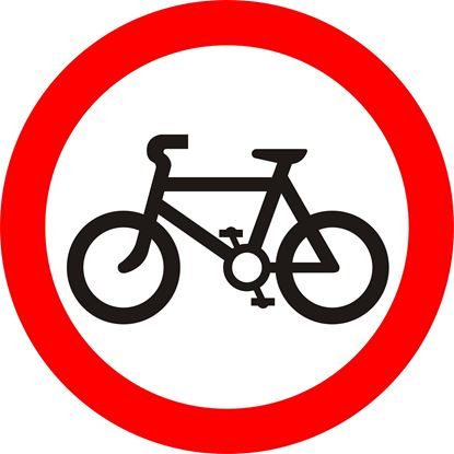 Riding of pedal cycles prohibited road sign