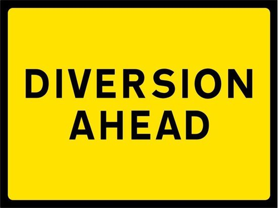 Diversion Ahead road signs