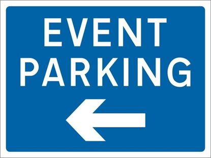 Event Parking with arrow left road sign