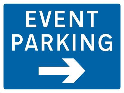 Event Parking with arrow right road sign